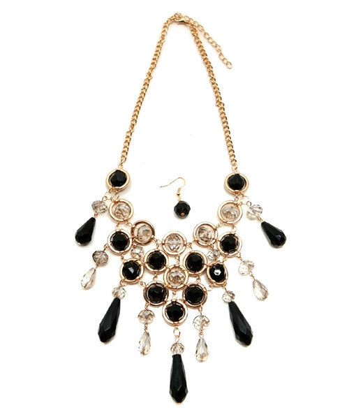 Black & Gold V Drop Necklace - Fierce Finds Mobile Boutique  - 4