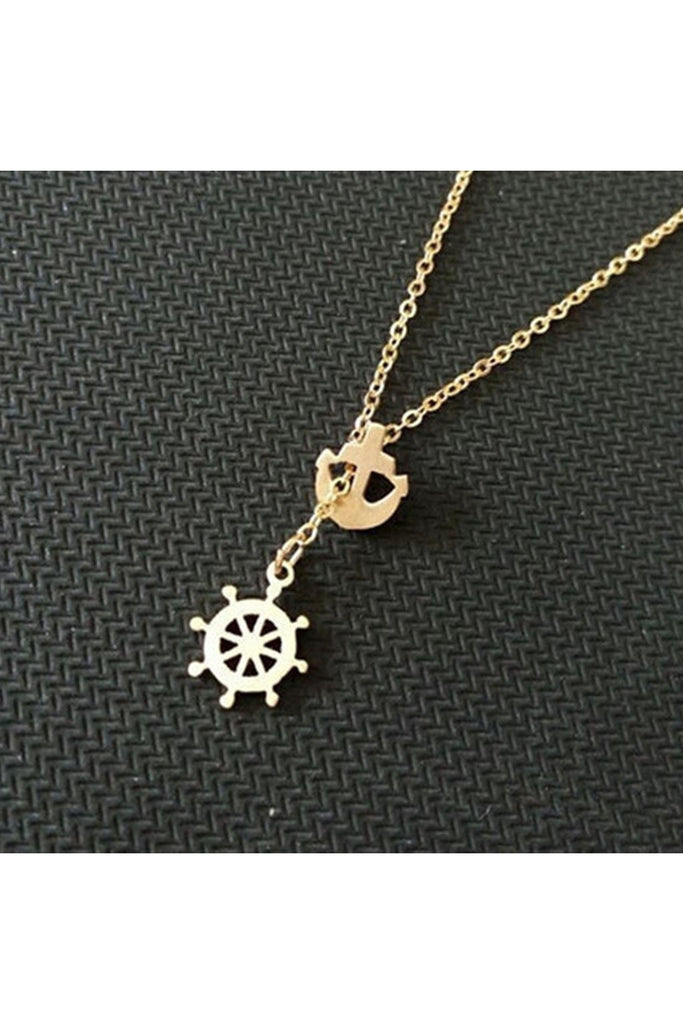 Anchor & Wheel Necklace - Stainess Steel - Fierce Finds Mobile Boutique  - 1