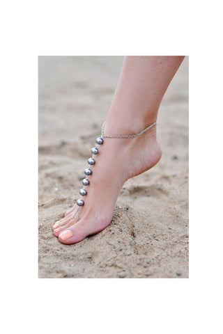 Black Beaded Barefoot Sandal - Fierce Finds Mobile Boutique  - 1