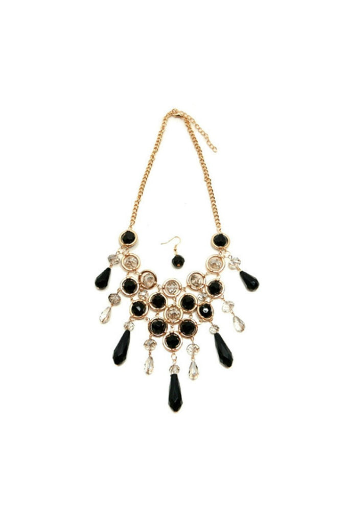 Black & Gold V Drop Necklace - Fierce Finds Mobile Boutique  - 1