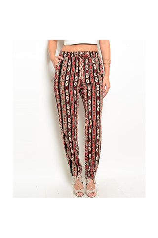 Black Print Pants-Women - Apparel - Pants - High Waisted-Fierce Finds Mobile Boutique