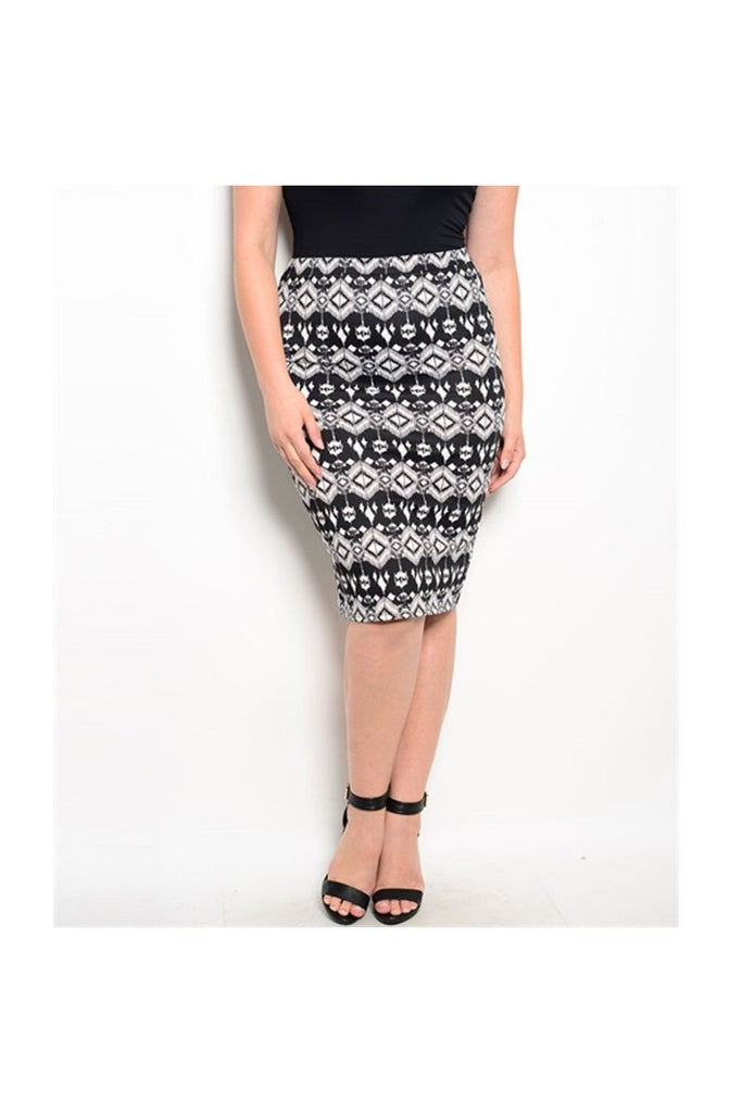 Black & White Plus Size Skirt - Fierce Finds Mobile Boutique  - 1