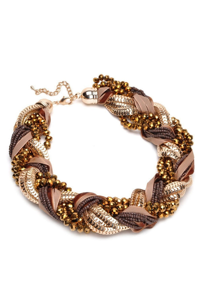 Braid Statement Necklace-Women - Jewelry - Necklaces-Fierce Finds Mobile Boutique