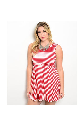 Candy Stripe Plus Size Dress - Fierce Finds Mobile Boutique  - 1