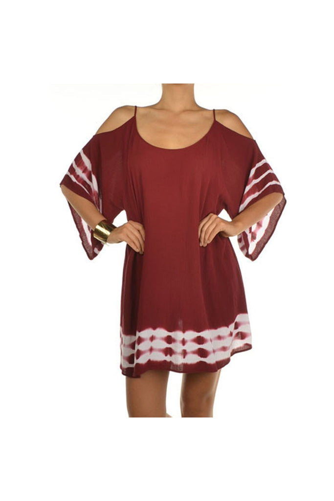 Cold Shoulder Wine Tie-Dye Dress - Fierce Finds Mobile Boutique  - 1