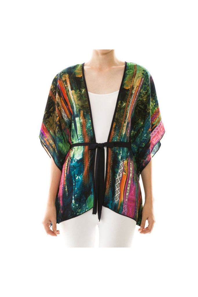 Colorful Print Self-Tie Cardigan - Fierce Finds Mobile Boutique  - 1