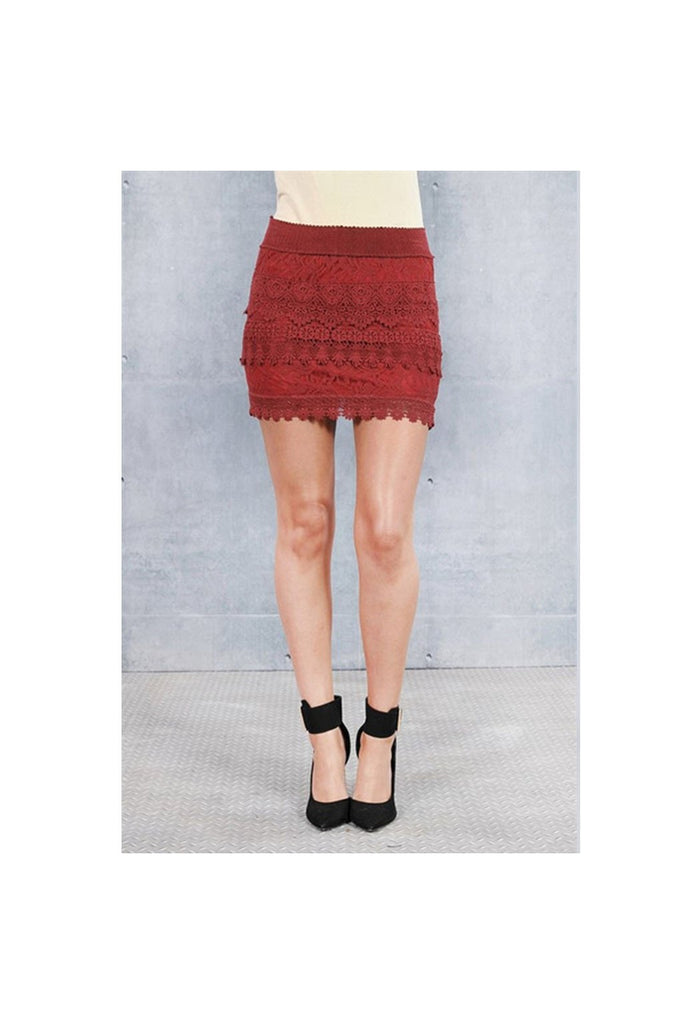 Crochet Wine Skirt-Women - Apparel - Skirts - Mini-Fierce Finds Mobile Boutique