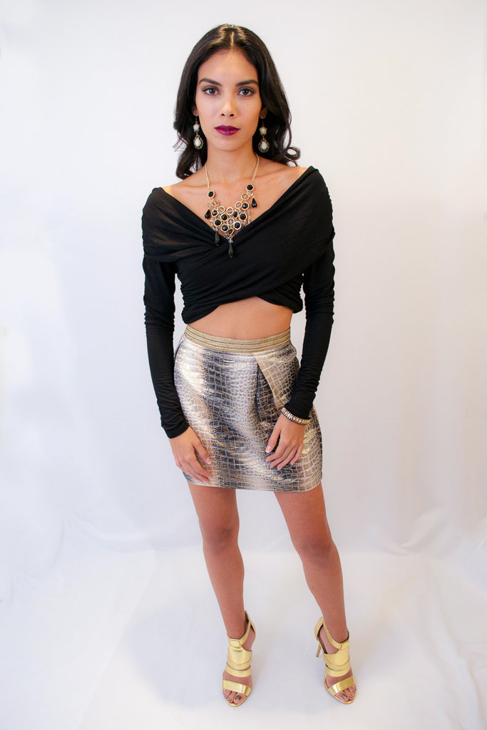 Gold Textured Snake Print Skirt - Fierce Finds Mobile Boutique  - 4