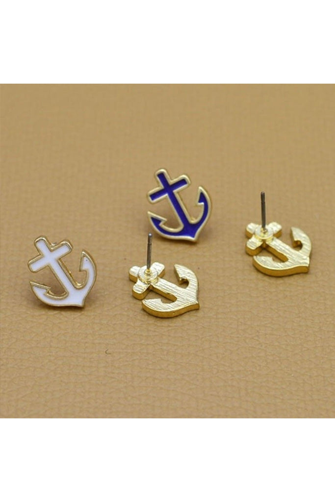 Dainty Anchor Stud Earrings-EARRINGS-Fierce Finds Mobile Boutique