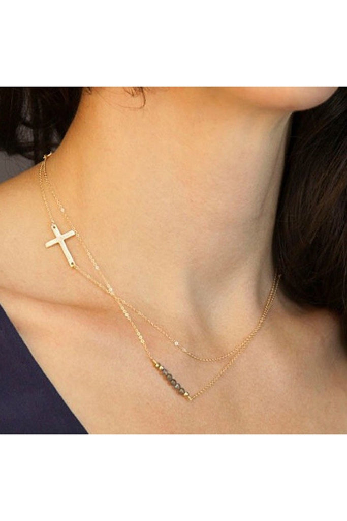 Dainty Layered Cross Necklace - Fierce Finds Mobile Boutique  - 1