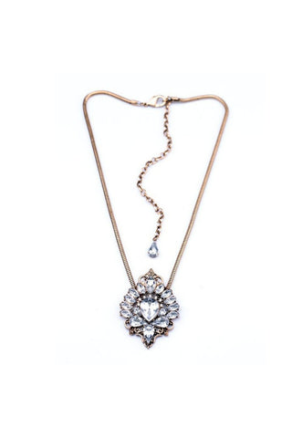 Crystal Antique Gold Necklace - Fierce Finds Mobile Boutique  - 1
