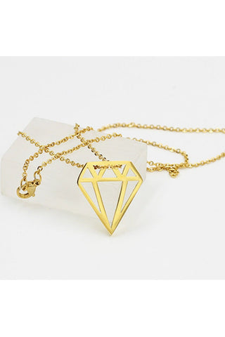 Diamond Cut Out Stainless Steel Necklace - Fierce Finds Mobile Boutique  - 1