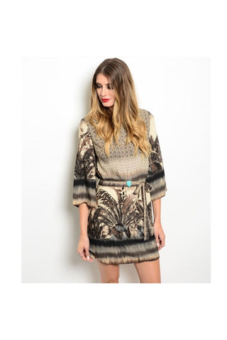 Feather Print Tunic Dress-Women - Apparel - Dresses - Day to Night-Fierce Finds Mobile Boutique