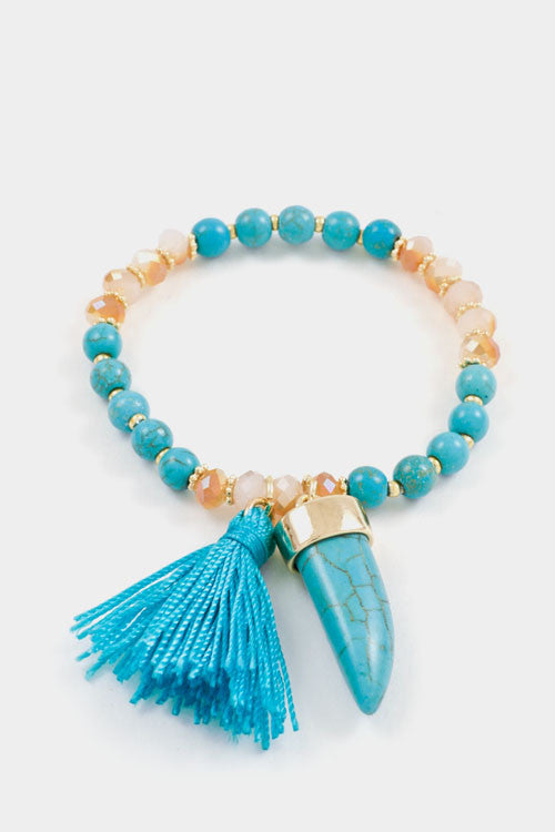 Tassle Horn Beaded Bracelet - Fierce Finds Mobile Boutique  - 4