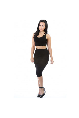 Give Curves Midi Skirt-Skirts & Dresses-Fierce Finds Mobile Boutique