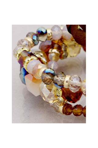 Glass 3 Row Stretch Bracelet - Fierce Finds Mobile Boutique  - 1