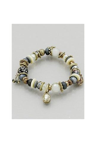 Glass Bead w/Charms Bracelet - Fierce Finds Mobile Boutique  - 1