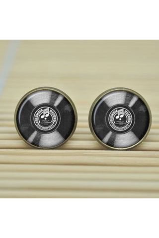 Glass Button Record Stud Earrings-EARRINGS-Fierce Finds Mobile Boutique