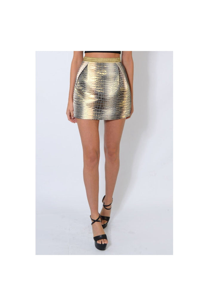 Gold Textured Snake Print Skirt-Women - Apparel - Skirts - Mini-Fierce Finds Mobile Boutique