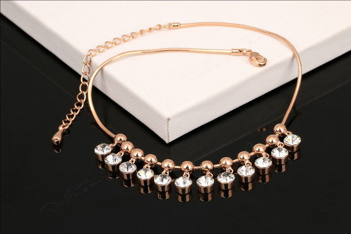 Rose Gold Crystal Charm Anklet - Fierce Finds Mobile Boutique  - 2