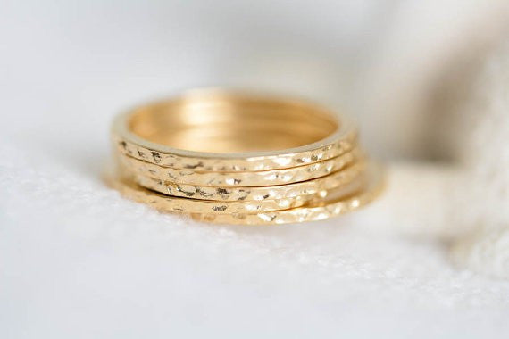 Hammered Gold Stackable Rings - Fierce Finds Mobile Boutique  - 4