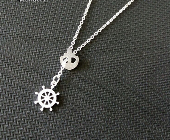 Anchor & Wheel Necklace - Stainess Steel - Fierce Finds Mobile Boutique  - 3