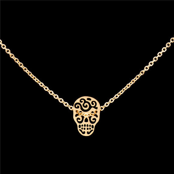 Sugar Skull Stainless Steel Necklace - Fierce Finds Mobile Boutique  - 2