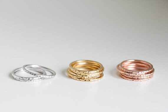 Hammered Gold Stackable Rings - Fierce Finds Mobile Boutique  - 3