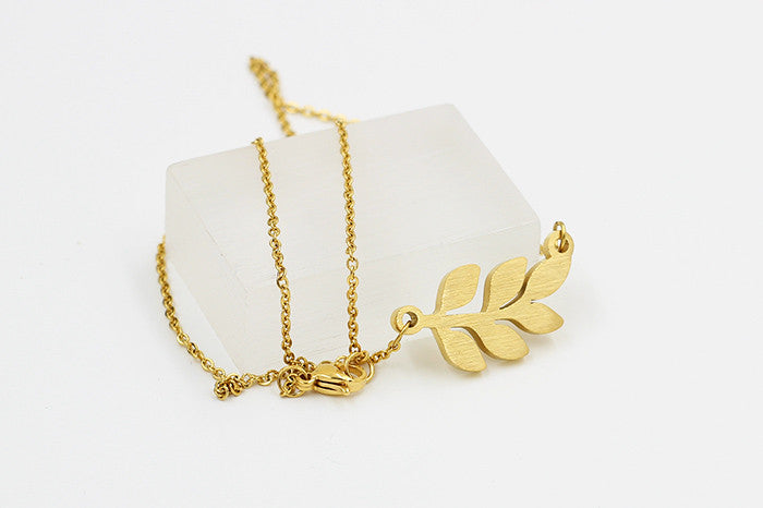 Small Leaf Necklace -Stainless Steel - Fierce Finds Mobile Boutique  - 5