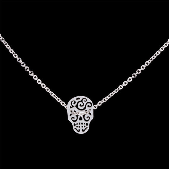 Sugar Skull Stainless Steel Necklace - Fierce Finds Mobile Boutique  - 4