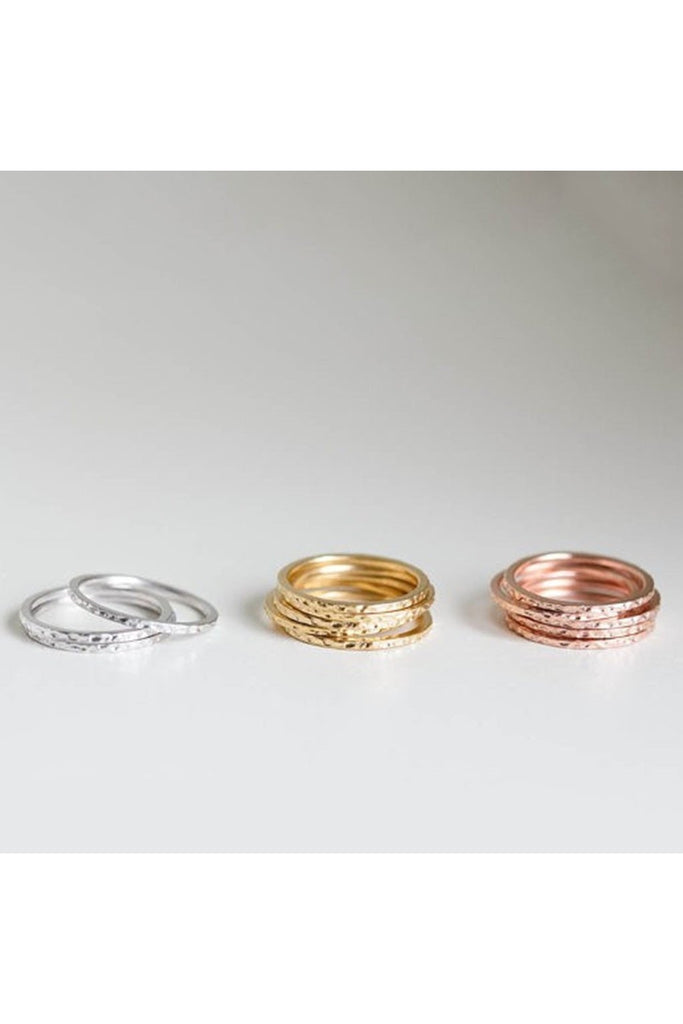 Hammered Gold Stackable Rings-Ring-Fierce Finds Mobile Boutique