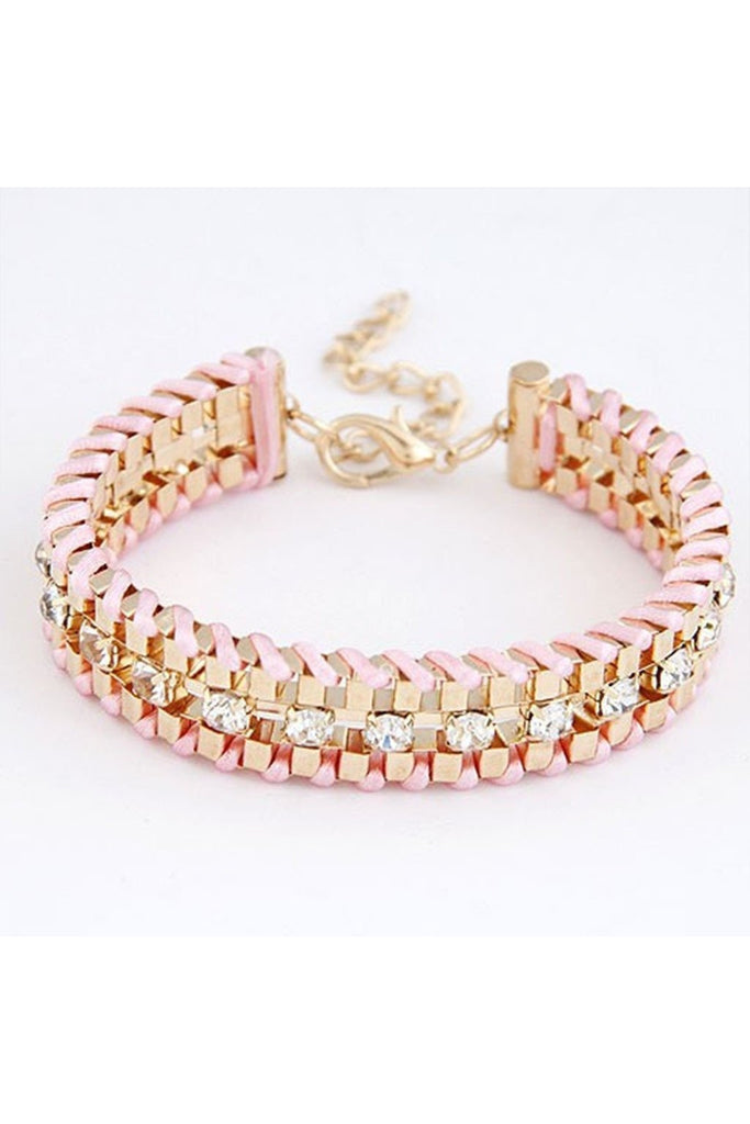 Hand-Woven Rhinestone Chain Bracelets & Bangle-Accessories-Fierce Finds Mobile Boutique