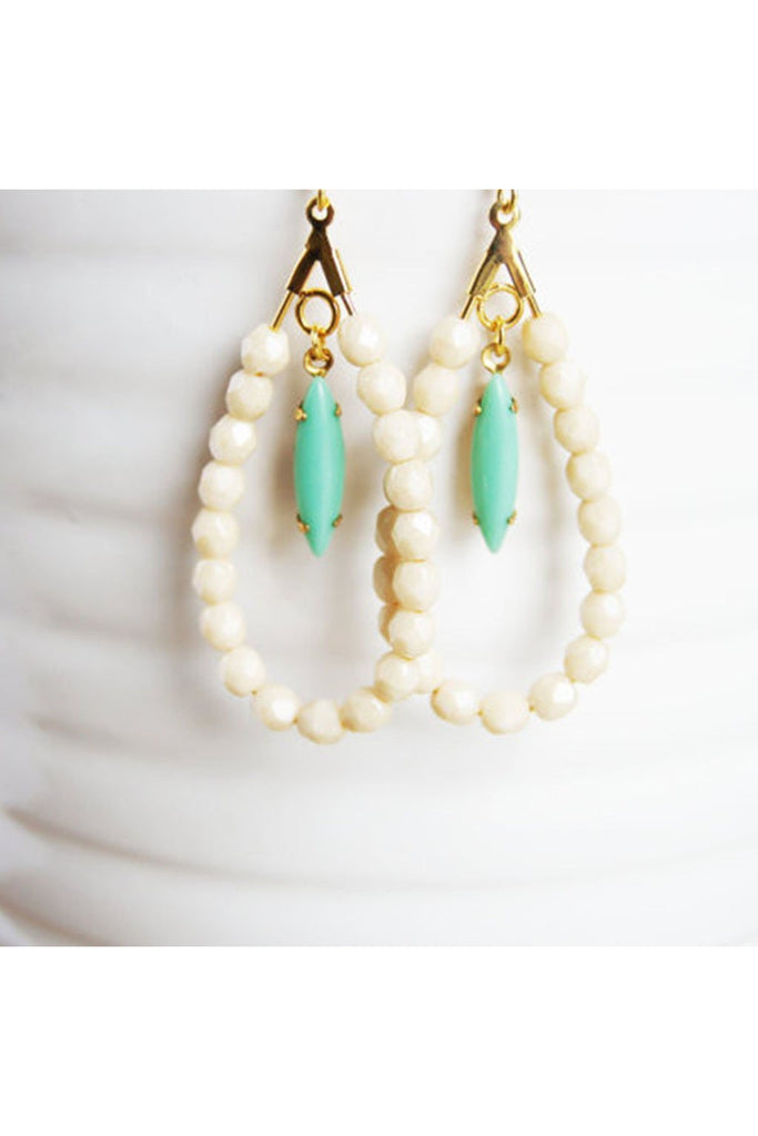 Handcrafted Mint and Ivory Earrings - Fierce Finds Mobile Boutique  - 1