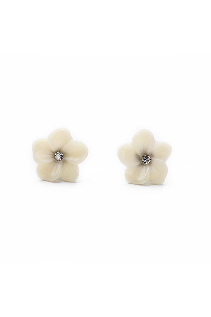 Ivory Flower Studs-EARRINGS-Fierce Finds Mobile Boutique