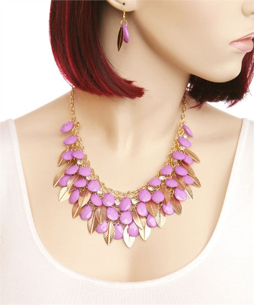 Stone & Leaves Necklace & Earring Set - Fierce Finds Mobile Boutique  - 3