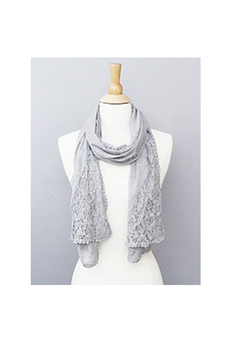 Lace Grey Scarves-Women - Accessories - Scarves-Fierce Finds Mobile Boutique
