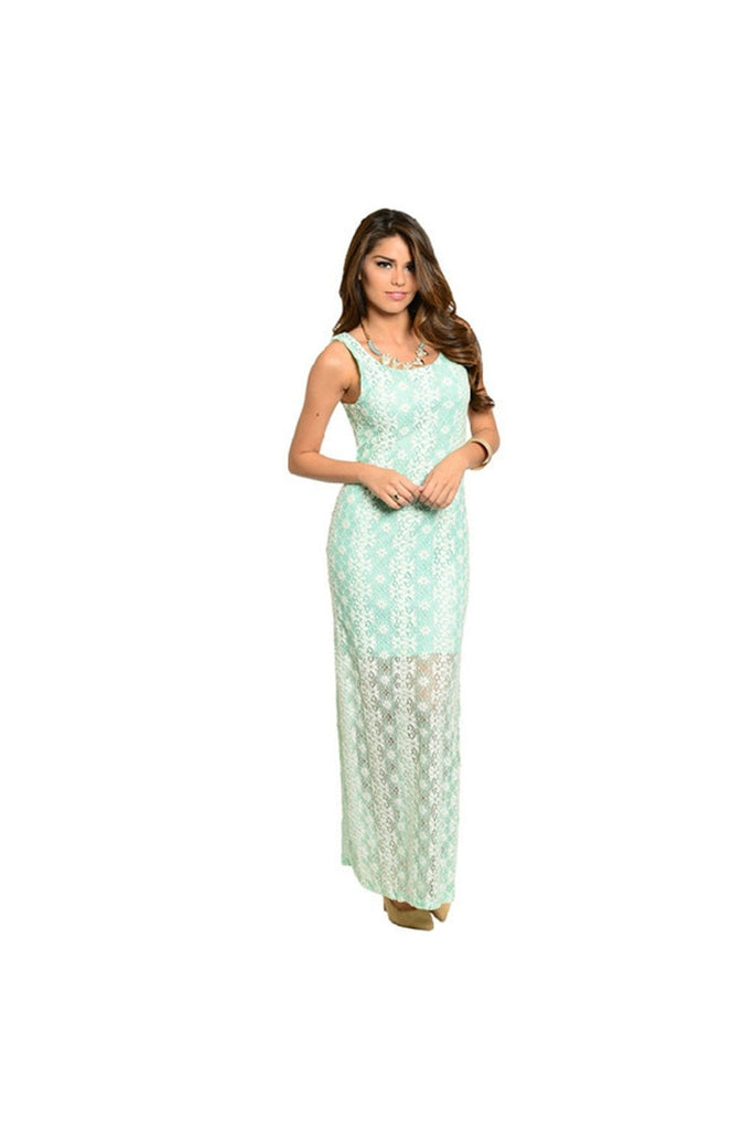 Lace Mint Maxi Dress - Fierce Finds Mobile Boutique  - 1