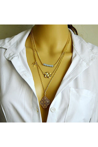 Layered Clover Necklace-NECKLACE-Fierce Finds Mobile Boutique