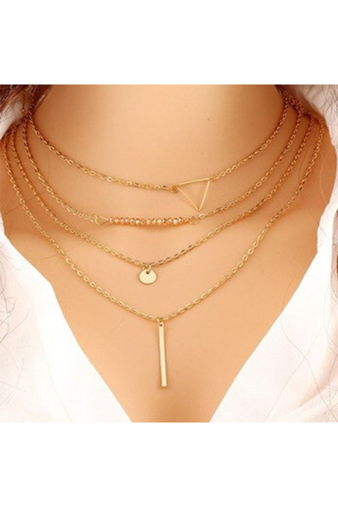 Layered Triangle Dainty Necklace-NECKLACE-Fierce Finds Mobile Boutique