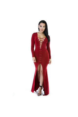 Lace-Up Maxi Dress-Women - Apparel - Dresses - Maxi-Fierce Finds Mobile Boutique
