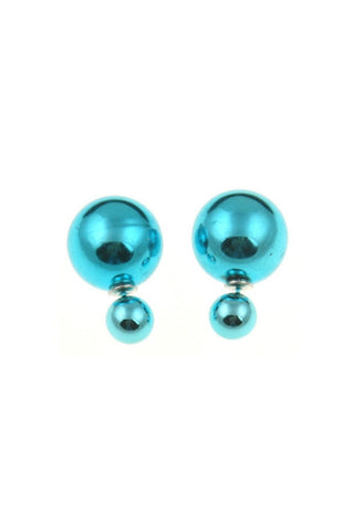 Metallic Double Pearl Studs-EARRINGS-Fierce Finds Mobile Boutique