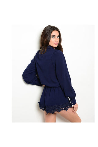 Navy Lace Trim Romper - Fierce Finds Mobile Boutique  - 1