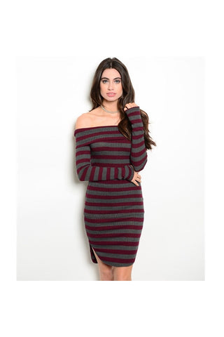 Off the Shoulder Stripe Skirt Set - Fierce Finds Mobile Boutique  - 1