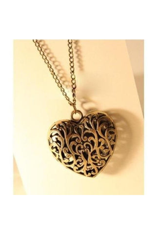 Open Heart Long Chain-Women - Jewelry - Necklaces-Fierce Finds Mobile Boutique