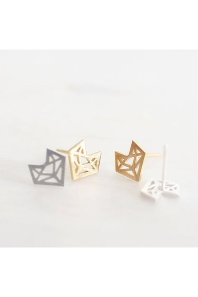 Origami Fox Stud Earrings-EARRINGS-Fierce Finds Mobile Boutique