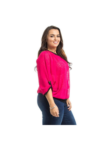 Pink Dolman Sheer Plus Size Top-Plus Size-Fierce Finds Mobile Boutique