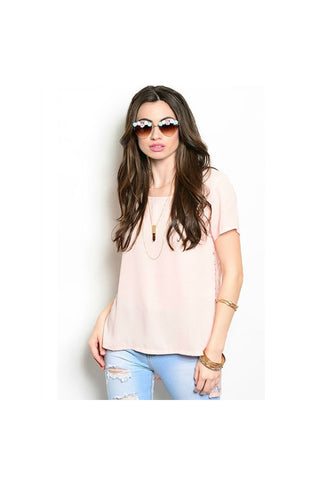 Pink Lace Back Top-Women - Apparel - Shirts - Blouses-Fierce Finds Mobile Boutique