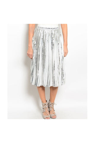 Pleated Metallic Midi Skirt-Women - Apparel - Skirts - Knee Length-Fierce Finds Mobile Boutique