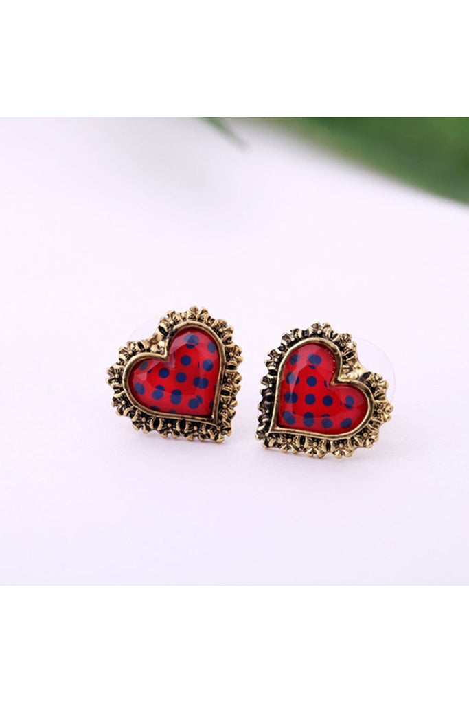 Polka Dot Hearts-EARRINGS-Fierce Finds Mobile Boutique