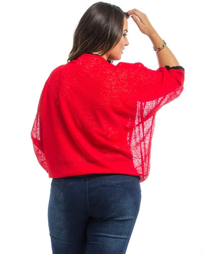 Red Dolman Sheer Plus Size Top - Fierce Finds Mobile Boutique  - 4